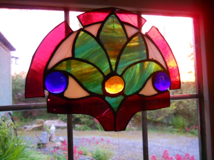 stained glass at Bealtaine Cottage Permaculture 070