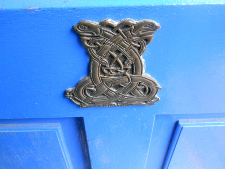 Celtic design on the backdoor of Bealtaine Cottage