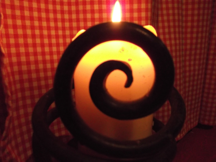 candle and spiral at bealtaine cottage