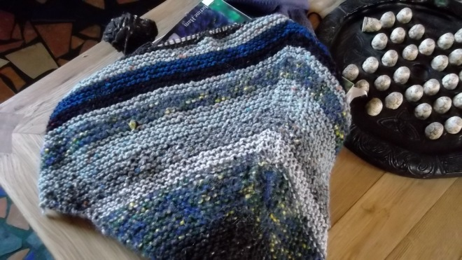 Hand knitted shawl at Bealtaine Cottage