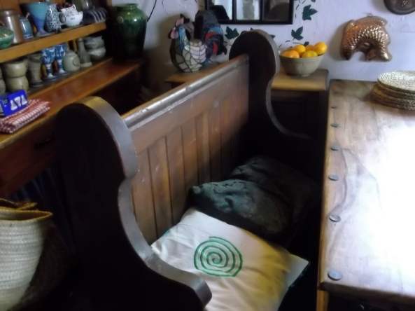 Old church pew at Bealtaine Cottage Permaculture