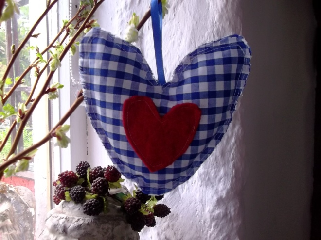 Catnip Heart Toy made at Bealtaine Cottage