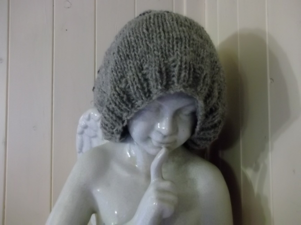Slouch Hat, handknitted at Bealtaine Cottage