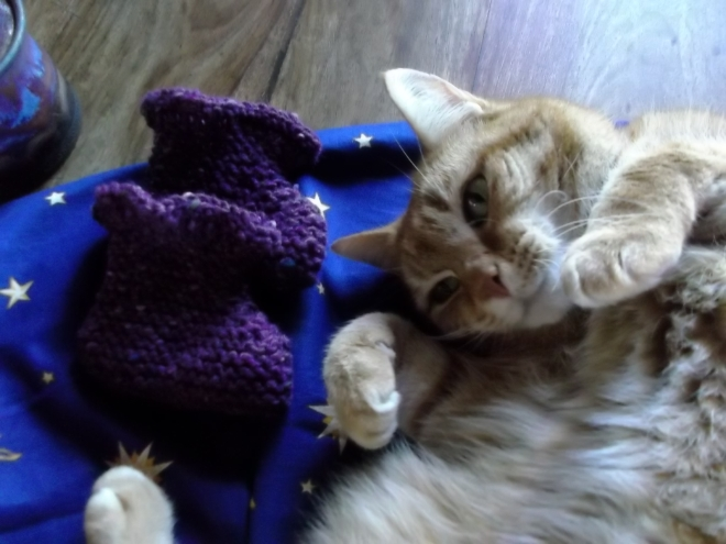 Missy Approved Baby Pixie Bootees handknitted at Bealtaine Cottage