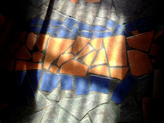 re-cycled tile floor in Bealtaine Cottage