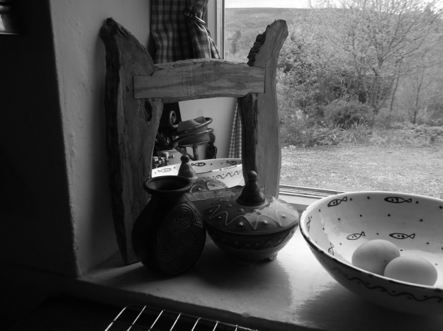 Driftwood mirror at Bealtaine Cottage