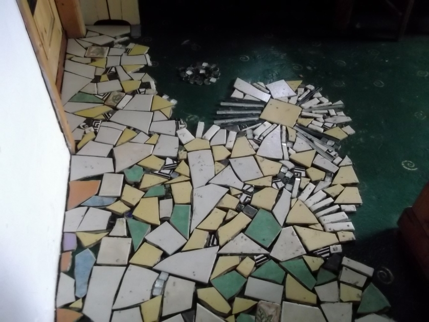 Recycled kitchen floor at Bealtaine Cottage