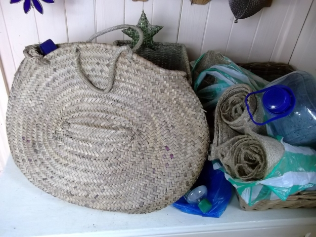 Recycled bags and containers at Bealtaine Cottage