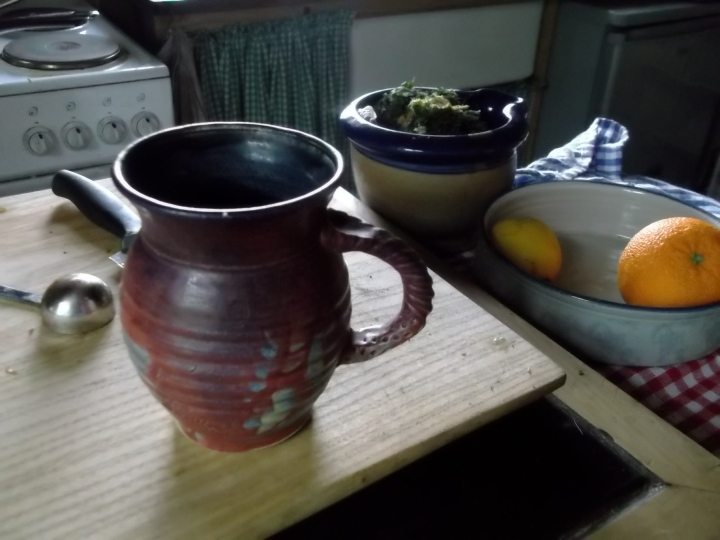 Michael Kennedy Mug and Westport Potteries bowl on locally made chopping board