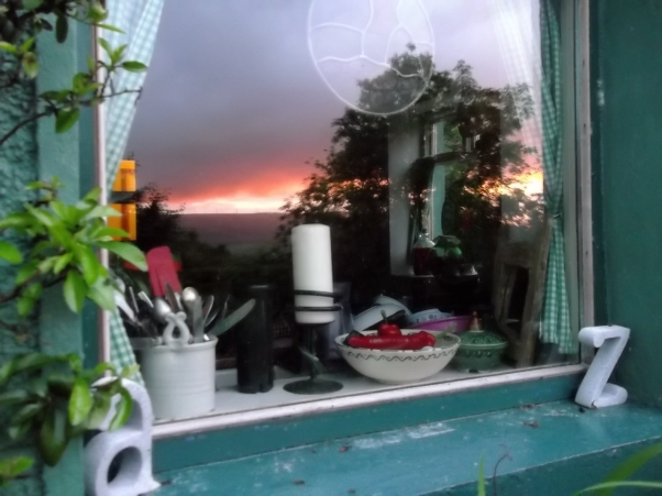 Sunset in the window of Bealtaine Cottage