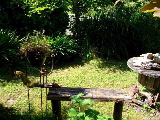 Bench in the garden at Bealtaine Cottage