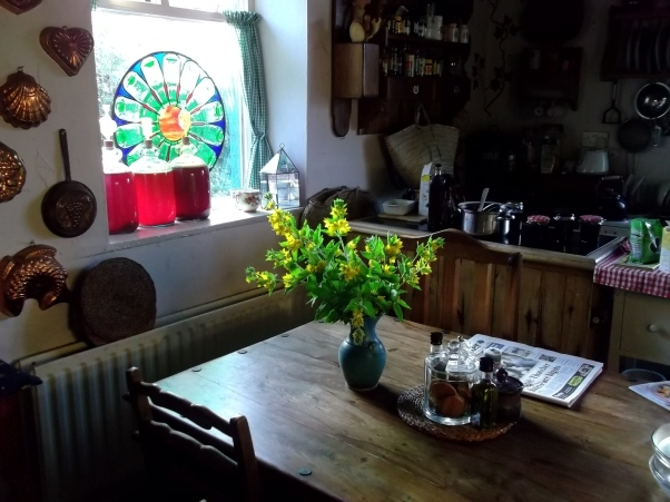 Evening kitchen at Bealtaine Cottage