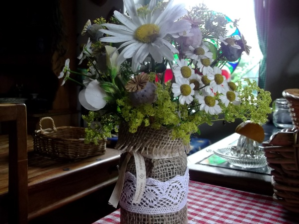Burlap and lace flower arrangement