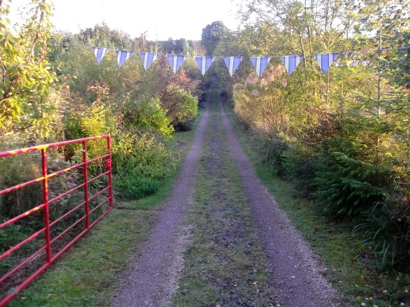 open weekend bunting by the gate