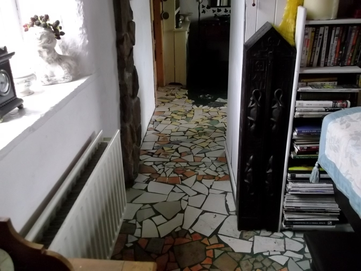 laying a mosaic floor at Bealtaine Cottage